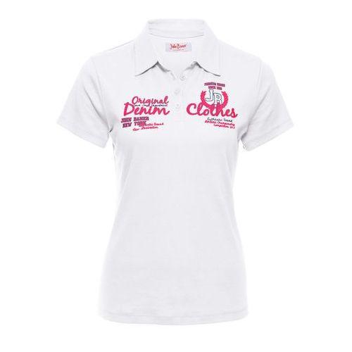 Shirt polo z nadrukiem, krótki rękaw biały, Bonprix, 40-42