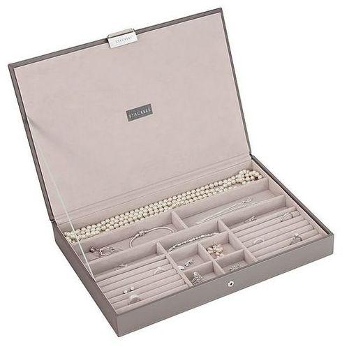 Pudełko na biżuterię z pokrywką supersize Stackers szaro-beżowe