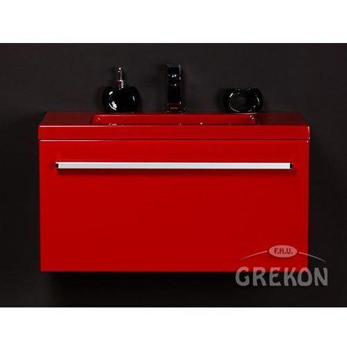 Gante Czerwona szafka wisząca z umywalką 80/39cz seria fokus cz