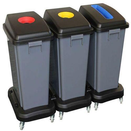 Merida Kosz do segregacji 3 x 60 litrów plastik szary (5902767347884)