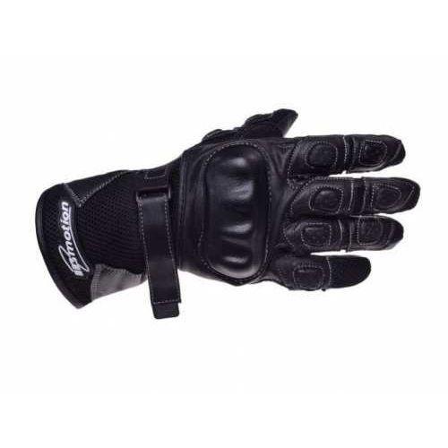 Inmotion Rękawice motocyklowe czarne skórzane siatka wzmocnione długie