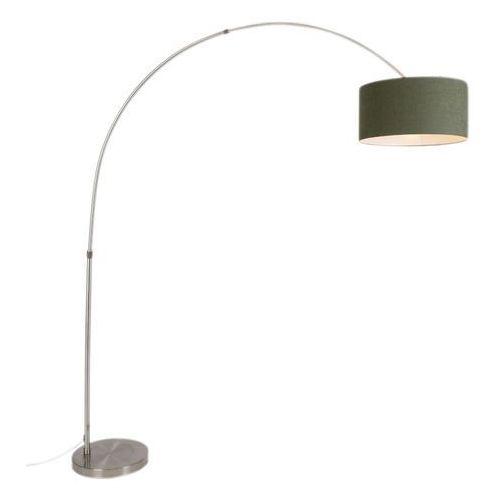 Lampa podłogowa łuk stal z kloszem 50/50/25 cylindryczny kolor mchu