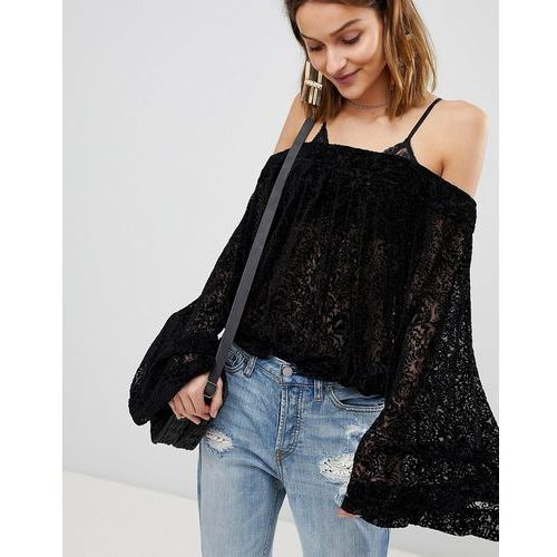 ginger berry off shoulder flared sleeve lace blouse - black, Free people, 34-38