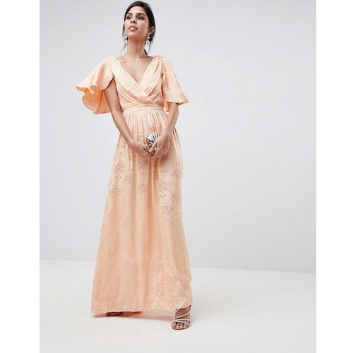 ASOS DESIGN Soft Jacquard Maxi Dress With Flutter Sleeve - Pink