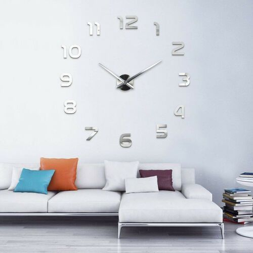 Nowoczesny zegar ścienny srebrny CYFRY 3D srebrny większa niż 50 cm