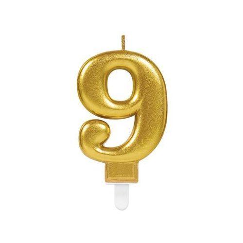Świeczka cyferka złota dziewięć - 9