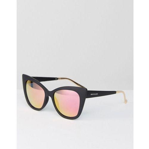 River island  exagerrated cat eye sunglasses in matte black - black