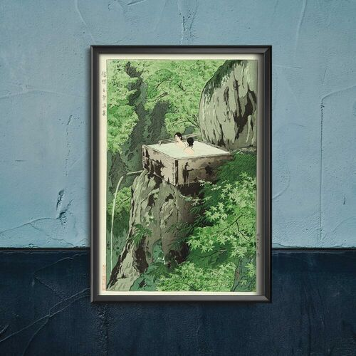 Plakat w stylu retro plakat w stylu retro shirahone hotspring shiro kasamatsu marki Vintageposteria.pl