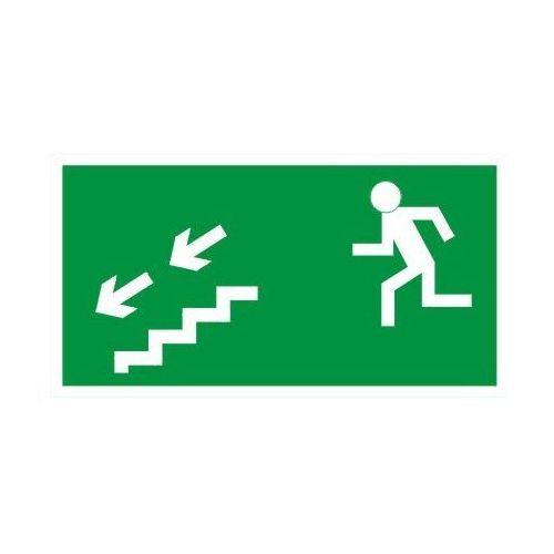 Znak kierunek ewakuacji schodami w lewo w dół marki Techem