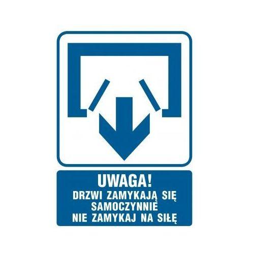 Uwaga! Drzwi zamykają się samoczynnie. Nie zamykaj na siłę. (drzwi dwuskrzydłowe) z kategorii Znaki informacyjne i ostrzegawcze