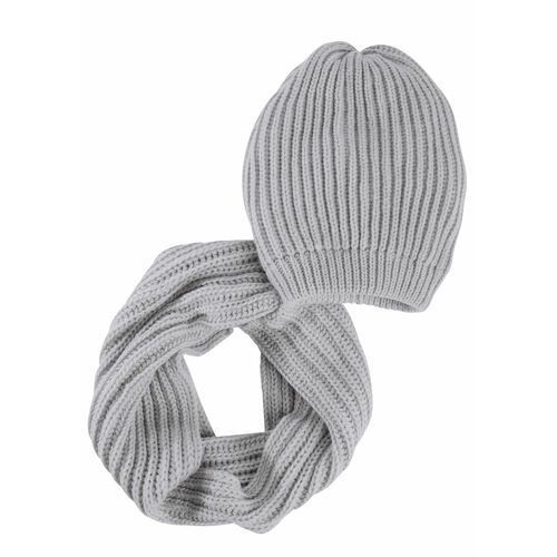 Bonprix Komplet 2-częściowy: czapka beanie + szalik koło szary