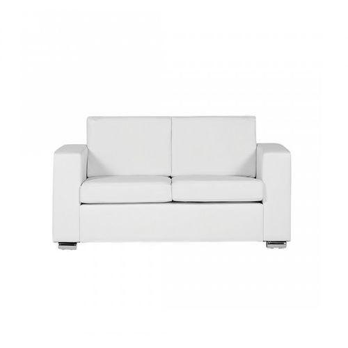 Blmeble Sofa biała - kanapa - skórzana - dwuosobowa - wypoczynek - gabriele