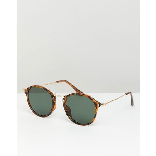 ASOS DESIGN round sunglasses in tort with metal details and green lens - Brown, kolor brązowy