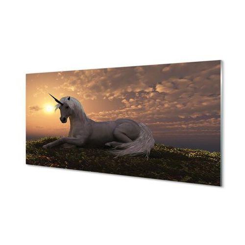 Obrazy akrylowe Jednorożec góry zachód słońca