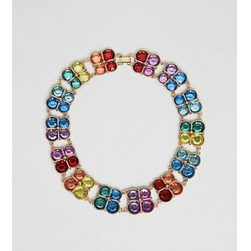 Asos curve Asos design curve exclusive statement necklace with multicolour jewels in gold - gold