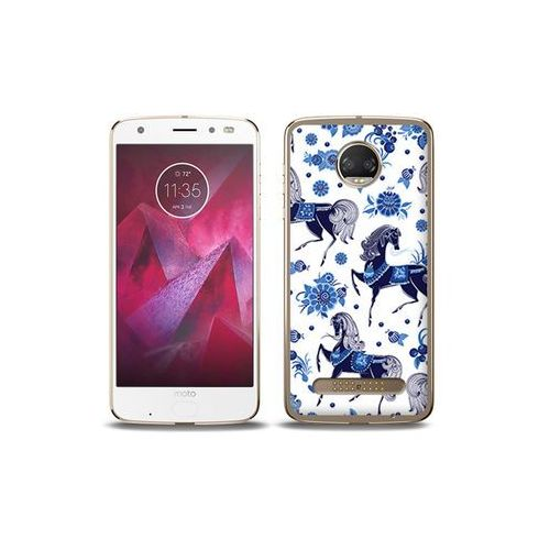 etuo Fantastic Case - Motorola Moto G6 Play - etui na telefon Fantastic Case - folkowe niebieskie konie