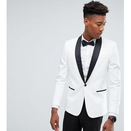 tall slim tuxedo suit jacket in white with black contrast lapel - white, Asos design