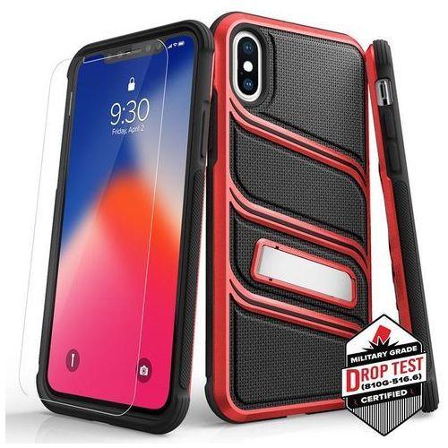 Etui Zizo Bolt-X Cover do iPhone XS/X + Szkło Hartowane 9H Black/Red, kolor czarny
