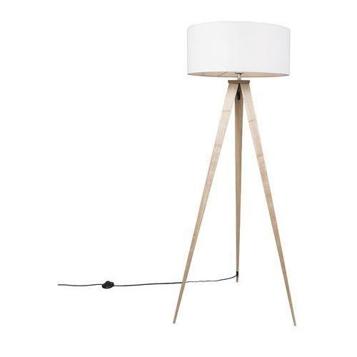 Lampa podlogowa Tripe drewno z bialym kloszem