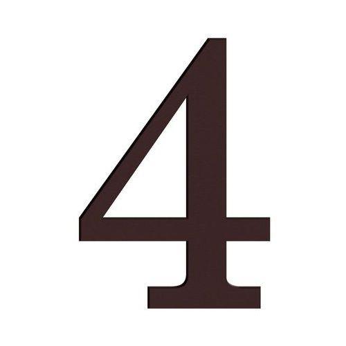 Cyfra 4 wys. 18 cm PVC brązowa