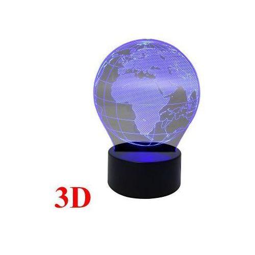 Designerska Lampka Nocna Hologram 3D - Kula Ziemska / Globus (3 kolory)., 590792642933