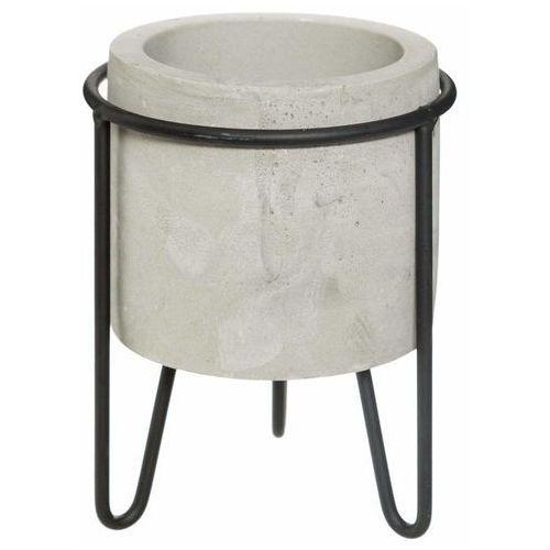 Doniczka na stojaku, okrągła doniczka z cementu, struktura betonu, Ø 12 cm