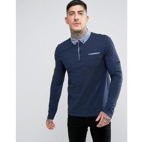 by hugo boss patcherman 1 roll sleeve polo shirt navy - navy marki Boss orange