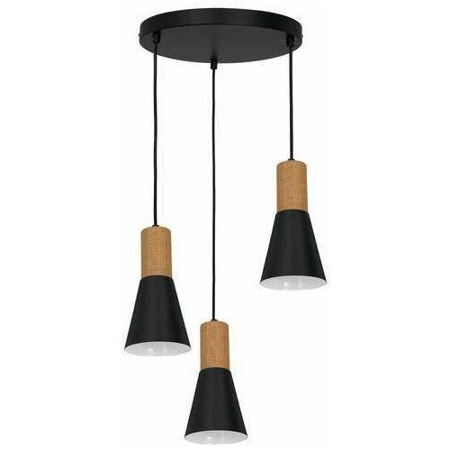Luminex Edmon 1988 lampa wisząca zwis 3x60W E27 czarna/drewniana (5907565919882)