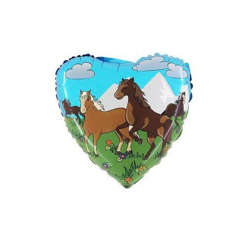 Balon foliowy serce Konie w galopie - 46 cm - 1 szt. (8057680300311)
