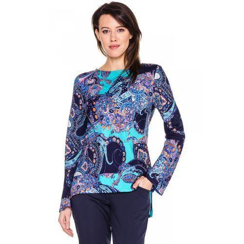 Niebieska bluzka w tureckie wzory - Duet Woman, 1 rozmiar
