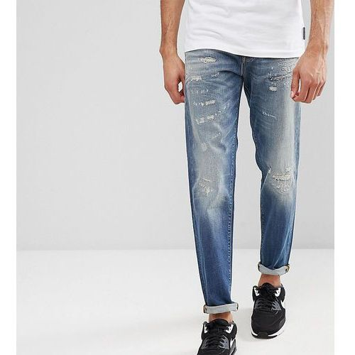 tall jeans in tapered fit with rip repair italian denim - blue marki Selected homme