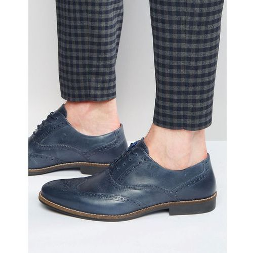 Red tape brogues in navy leather - blue