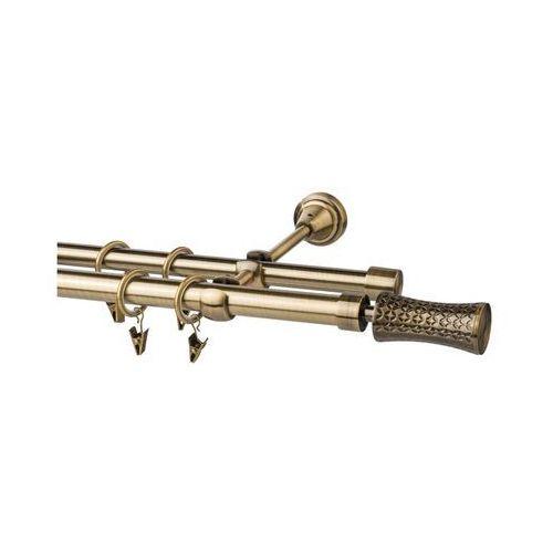 Karnisz PRADO JARIS 160 cm podwójny antyczne złoto 19/16 mm metalowy (5902633070045)