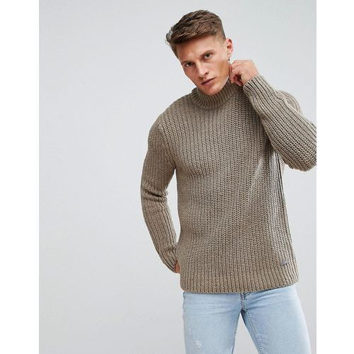chunky knit jumper with roll neck in stone - stone marki Esprit