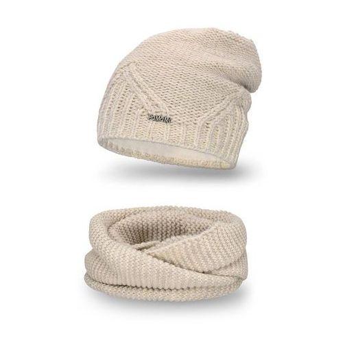 Komplet PaMaMi, czapka i komin - Beżowy - Beżowy