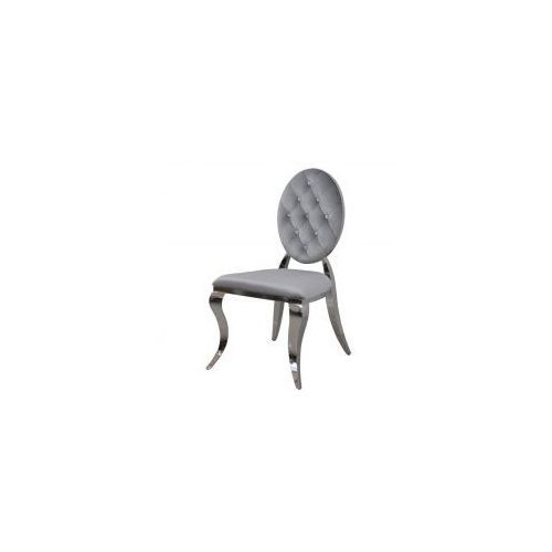 Krzesło pikowane Louis II - stal polerowana nowoczesny glamour