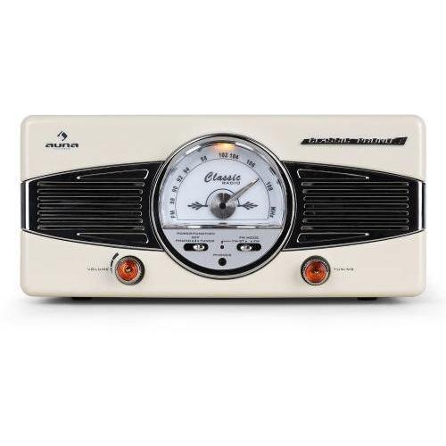 Auna  mg-tt-82b gramofon radio fm lata 50-te retro kremowy