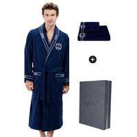 Męski szlafrok marine man w ozdobnym opakowaniu + ręcznik m + ręcznik 50x100cm + pudełko ciemnoniebieski marki Soft cotton