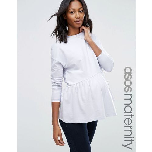 ASOS Maternity Top with Exaggerated Ruffle Hem and Long Sleeve - Blue ()