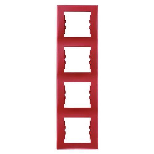 Sedna Ramka 4x czerwony tworzywo Pionowy SDN5802041 SCHNEIDER ELECTRIC, kolor czerwony