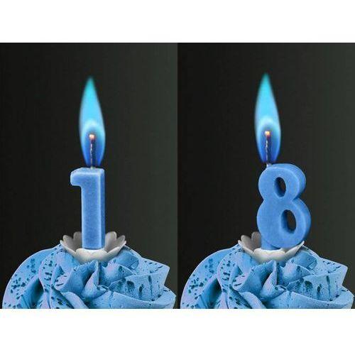 Świeczki cyferki z niebieskim płomieniem - 18 - osiemnastka - 2 szt.
