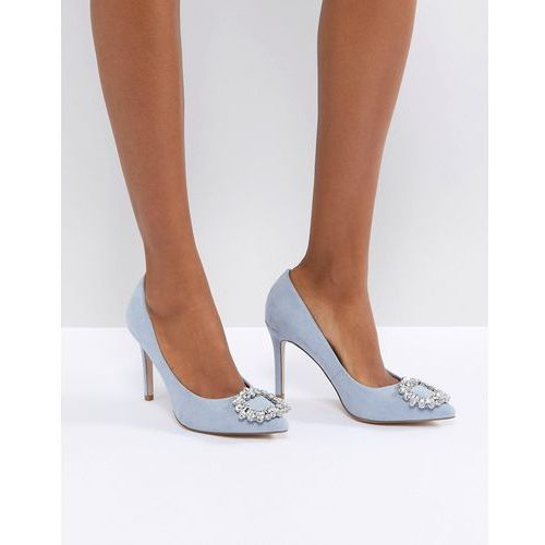 Miss kg square jewel trim point high heels - blue