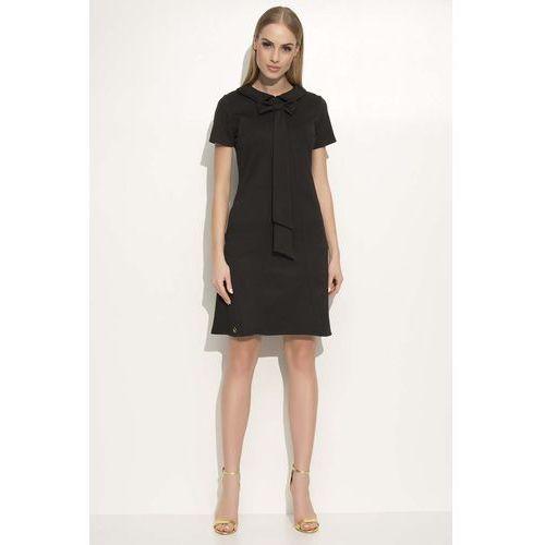 Czarna Sukienka Trapezowa Midi z Kołnierzykiem i Krawatem
