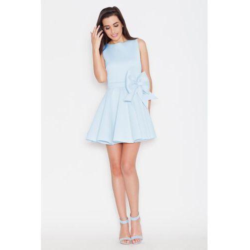 Niebieska Wizytowa Rozkloszowana Sukienka bez Rękawów z Kokardą, KK271be