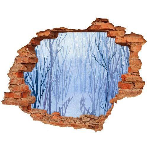 Dziura 3d w ścianie naklejka cegła las zimą marki Wallmuralia.pl