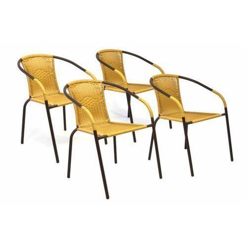 Zestaw 4 sztuk krzeseł ogrodowych wyplatanych pilirattanem - beżowe