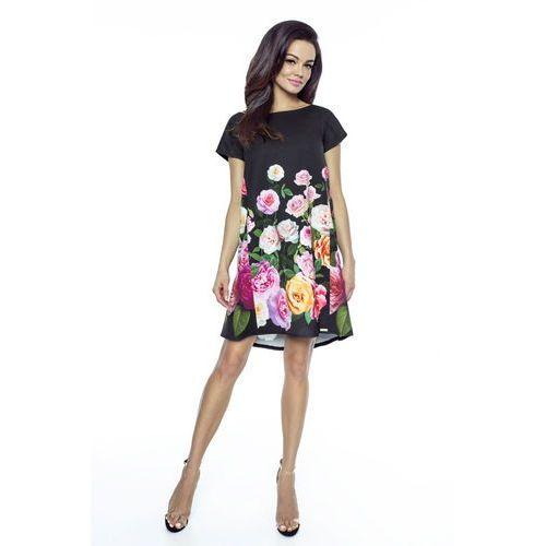 0240984e70 Czarna Sukienka Trapezowa w Róże z Dekoltem na Plecach