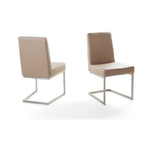 Krzesło ze stali szlachetnej - café latte - tapicerowane - do jadalni - do kuchni- arctic, marki Beliani