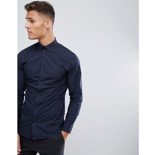 Selected Homme Smart Shirt In Slim Fit All Over Dot Print - Navy