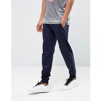 Asos skinny joggers with velour cut and sew detail - navy marki Asos design